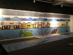 The finished mural, ready to be installed on the actual wall on 1st Street.